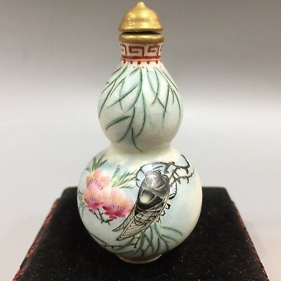 Chinese Collectible Old Antique Porcelain Handwork Cicada Calabash Snuff Bottle