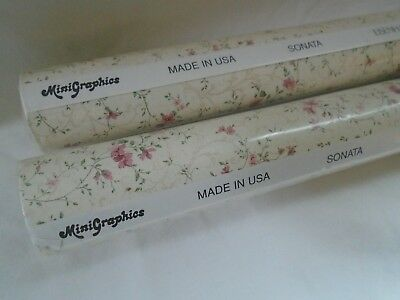 "2 dollhouse miniature Mini Graphics 11.5"" by 18"" USA pink floral wallpaper NIB"