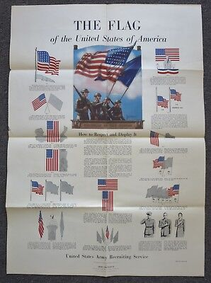 Original 1942 WW2 US ARMY POSTER The FLAG of AMERICA HOW to RESPECT & DISPLAY IT