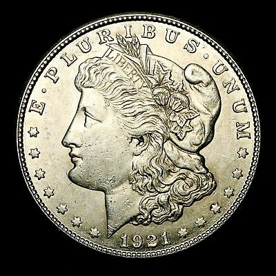 1921 S ~**ABOUT UNCIRCULATED AU**~ Silver Morgan Dollar Rare US Old Coin! #575