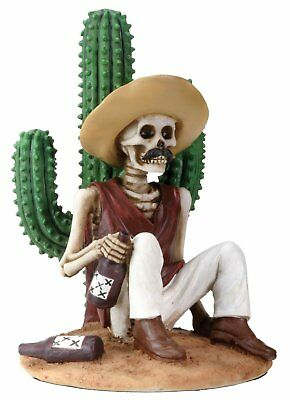 Skeleton Boracho Sitting by Cactus Day of the Dead Figurine Dia de los Muertos