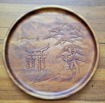 Huge Vintage Chinese Huanghuali Rosewood Low Relief Carved Tray Medallion Plaque
