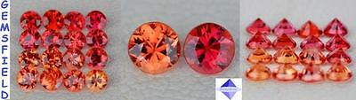 IF !!! LOT SAPHIRS de TANZANIE - brillants 2,7mm rouge orangé - poli AAA++