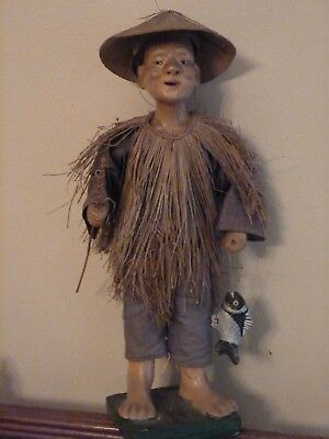 Antique Chinese Old Fisherman Statue Figurine Composition Original Clothing