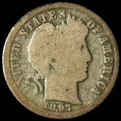 1897-O Barber Dime - AG/G - 10c Silver - About Good to Good