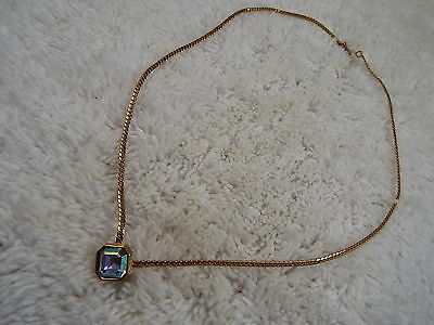 Goldtone AB Crystal Pendant Necklace (C50)