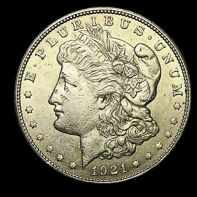 1921 S ~**ABOUT UNCIRCULATED AU**~ Silver Morgan Dollar Rare US Old Coin! #937
