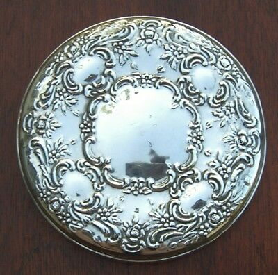 Towle Sterling Silver Repousse' Design Ladies Compact or Purse Mirror 925