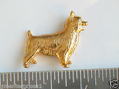 Australian Terrier Dog Pin , Beautifully Rich Gold Color.