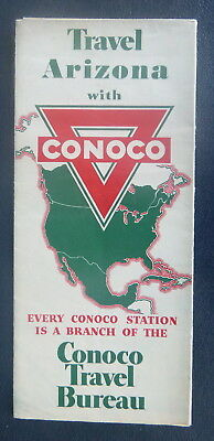 1940 Arizona road map Conoco  oil  gas route 66 Grand Canyon Petrified Forest