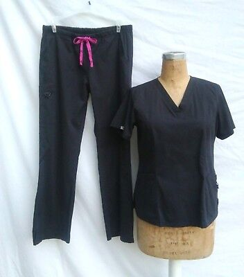 PEACHES MED COUTURE Womens MEDIUM Black Scrub Set Top Cargo Pants