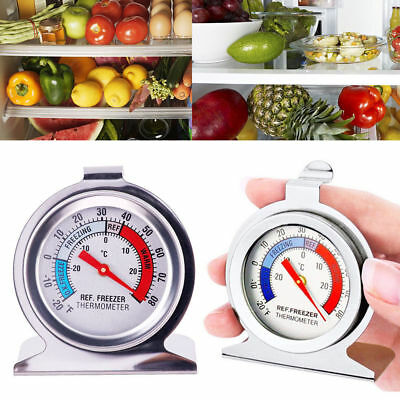 Stainless Steel Silver Fridge Freezer Thermometer Hanging Gauge Refrigerator UK