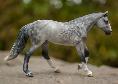 Customized Stablemate Breyer Model Horse, Gray Loping Mare, by Sarah Necco