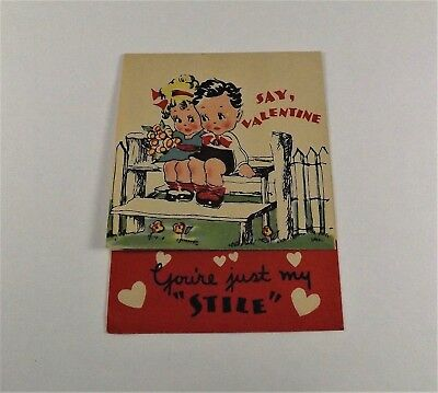 "Vintage 1940's Valentine Card Boy Girl On Bench Roses  3 1/4"" x 2 3/4"""""