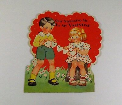"Vintage 1940's Valentine Card Little Boy & Girl String of Hearts 4"" x 3 3/4"""""