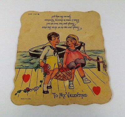 "Vintage 1940's Valentine Card Little Boy & Girl Rowboat Picnic 3 7/8"" x 3 1/2"""
