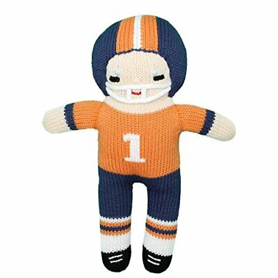 Zubels 100% Hand-Knit Football Player Plush Doll Toy in Orange and Navy, Fibers,