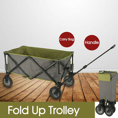 Fold Up Trolley w/ Carry Bag Handle Beach Gear Picnic Equipment Groceries 100kg