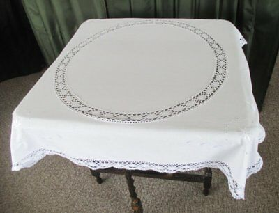 "VINTAGE TABLECLOTH - EMBROIDERY - LACE EDGE - 42""sq."