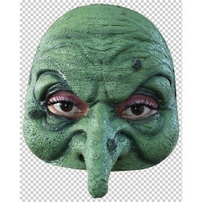 Grüne Hexe Halbmaske - Witch Half Mask Halloween Face Rubber Fancy Dress Adult