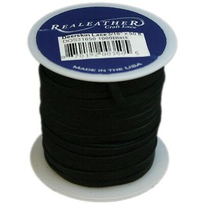"Deerskin Lace 1/8"" Black - 125x50 Spool"