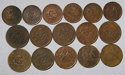 CHINA 10 & 20 Cash Empire Dragons Republic Flags - Lot of 16 Copper Coins NR!