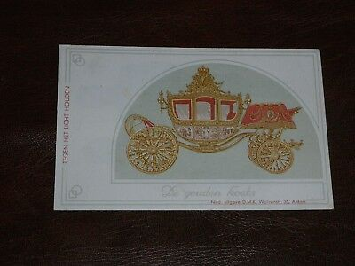 Original Dutch Novelty Hold To Light Postcard - Carriage - Royalty.