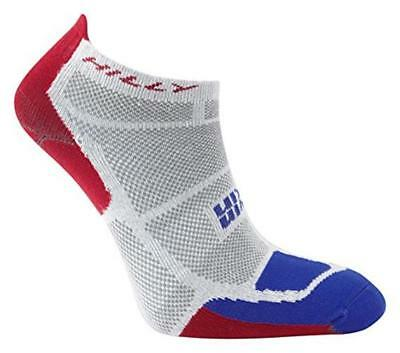Hilly Men's Twin Skin Socklet Running Socks - Grey/Electric Blue/Red, Large