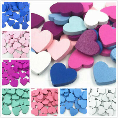 NEW Wooden Heart Shape Beads Spacer Wood Beads DIY Kids Toys Accessories 24x21MM