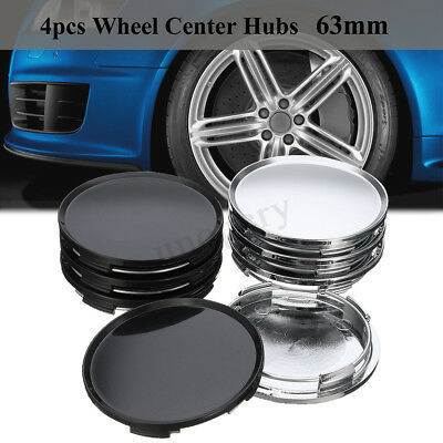 4pcs Universal 63mm Black Sliver Car Vehicle Plain Wheel Center Hub Cap Cover