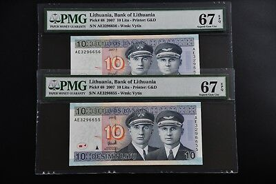 Lithuania 2007 pick#68, PMG67 EPQ,6655-56 Consecutive pair