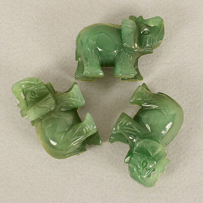 Green Mini Quartz Carved Elephant Gemstone Crystal Figurine Ornaments LG