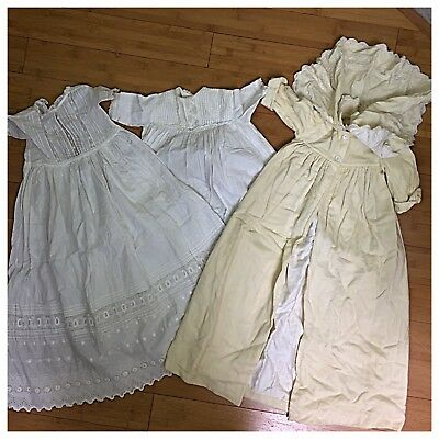 Vintage Lot of 3 Edwardian Victorian Children' Dresses Gowns Robes Christening