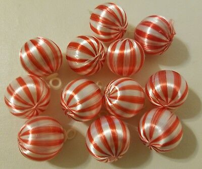 """Vtg Pack of 12 Candy Cane Stripe Satin Christmas Ball Ornaments 1"""" 25mm Craft"""