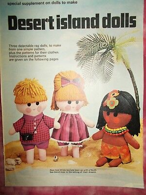 Desert Island Dolls Sewing  Pattern Pull-Out - Rag Dolls & Clothes