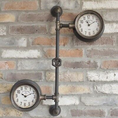 Pipe Clocks Industrial Rustic Effect Timer Wall Mounted Pressure Guage Timepiece