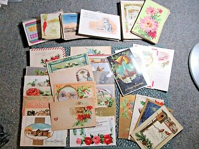 Vintage Lot of 140 Postcards some stamped 1900;s -1950's ~ holidays, birthdays