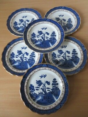 """6 x ROYAL DOULTON (BOOTHS) Real Old Willow 7"""" SIDE PLATES V.G.COND"""