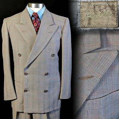 Vintage 1950s Town Clad Double Breasted Suit 38 31x31