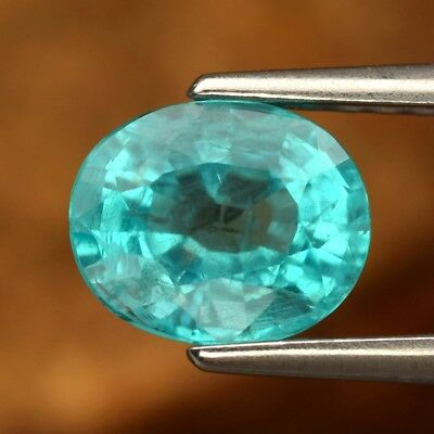 0.95ct 6.5x5.3mm Oval Natural Unheated Paraiba-Color Neon Blue Apatite