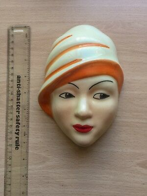Art Deco / vintage style, reproduction Ceramic Lady Wall Mask. Great condition.