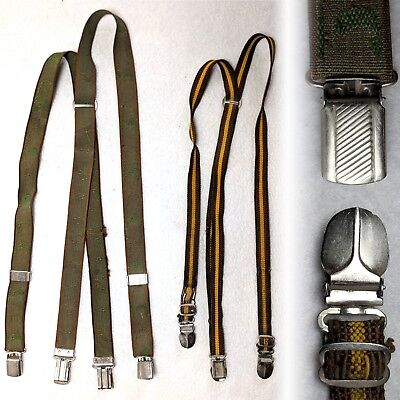 Vintage 1950s childrens clip on suspenders braces fly fishing striped