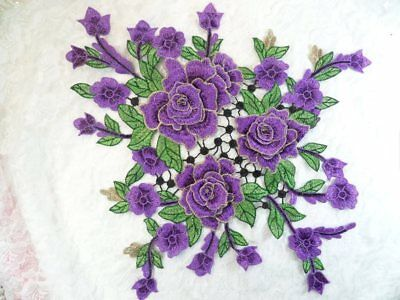 7a6e65279be 3D Applique Embroidered Floral Purple Craft Patch Flower Clothing Motif  (GB591)