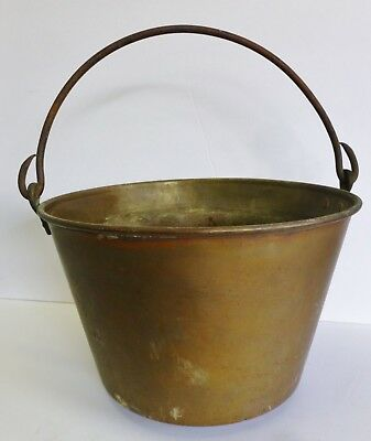 Early HW Hayden's Ansonia Brass Co Apple Butter Kettle Pail Bucket 1851 Antique