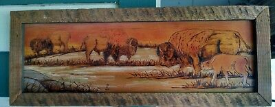 Wood Carving Burned American Bison Buffalo art Ranch Estate fresh