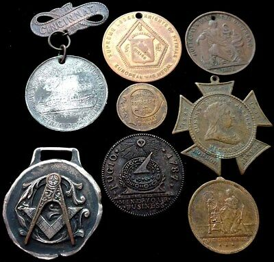Lot of (8) Vintage & Antique Medals/Tokens