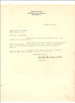 3/28/21 signed letter Willam S. Currell, president, U. South Carolina