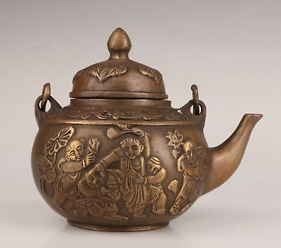 Bronze Casting Hand-Carved Rare Bat Fuwa Statue Old Teapot Collection