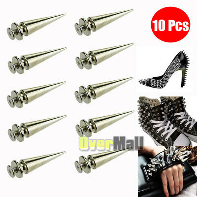 10Pcs 26mm Silver Spots Cone Screw Metal Studs Leathercraft Rivet Bullet Spikes
