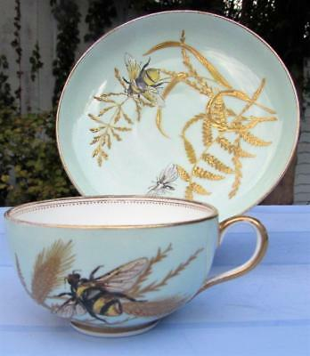 Stunning Rare Royal Worcester Tea Cup and Saucer Circa 1870 - Gilded Bee Pattern